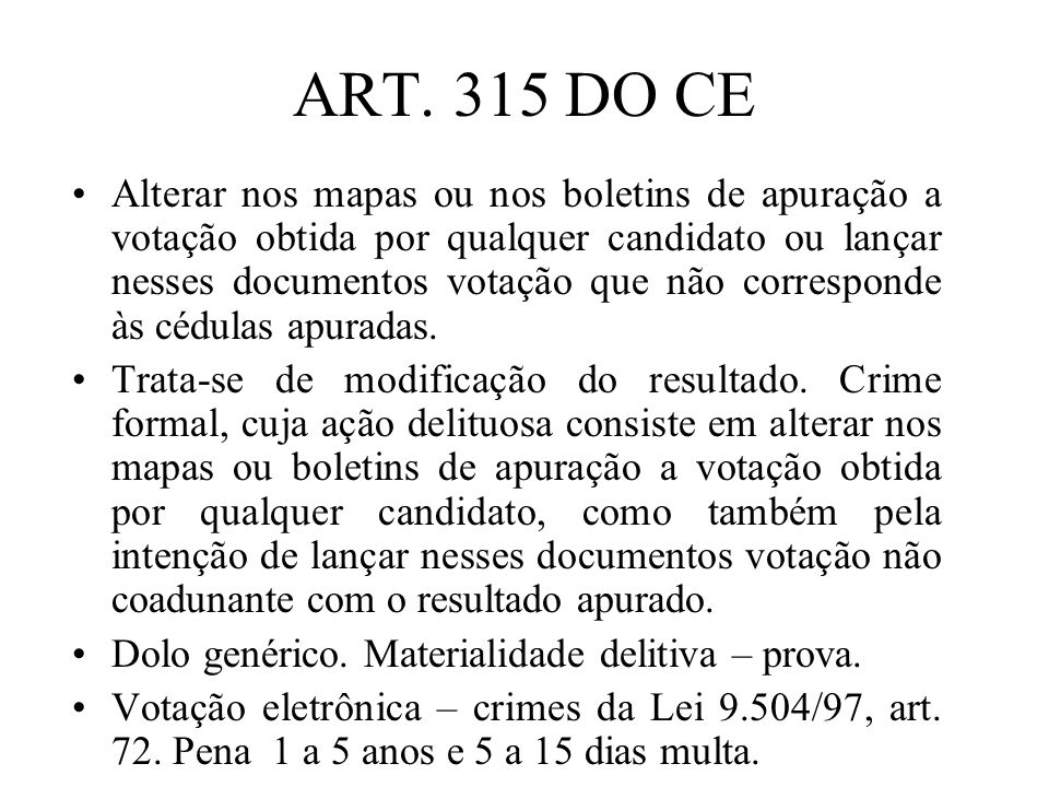 ART. 315 DO CE