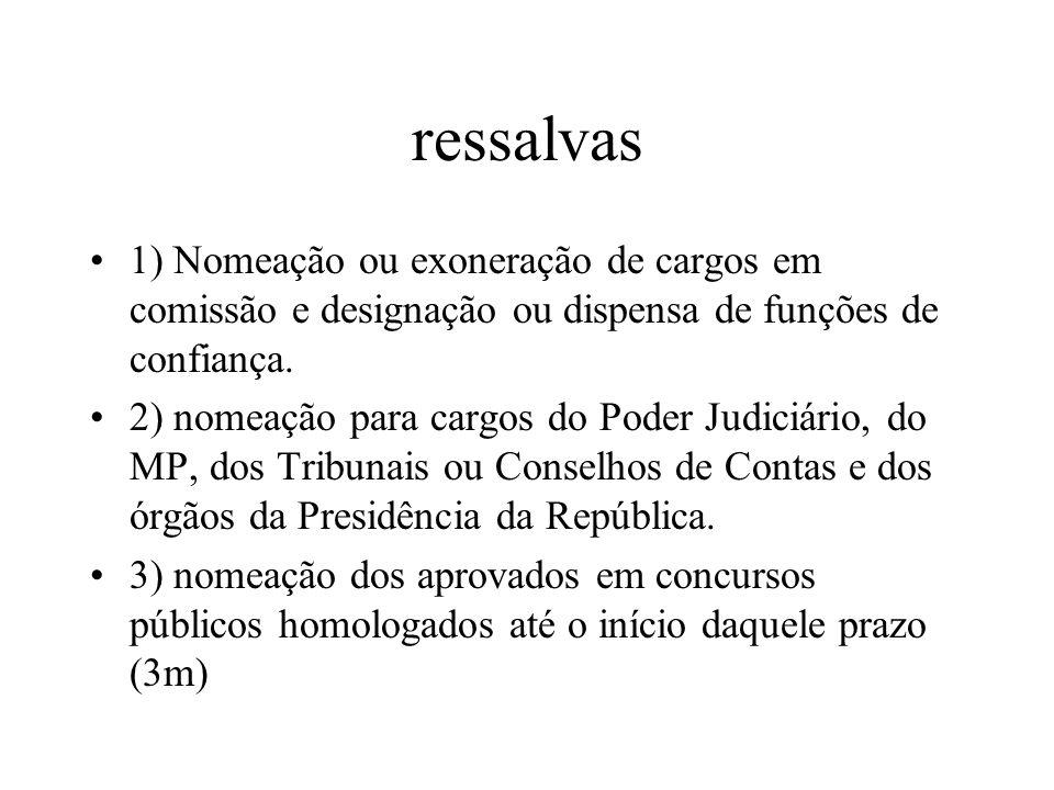 ressalvas1) Nomeação ou exoneração de cargos em comissão e designação ou dispensa de funções de confiança.