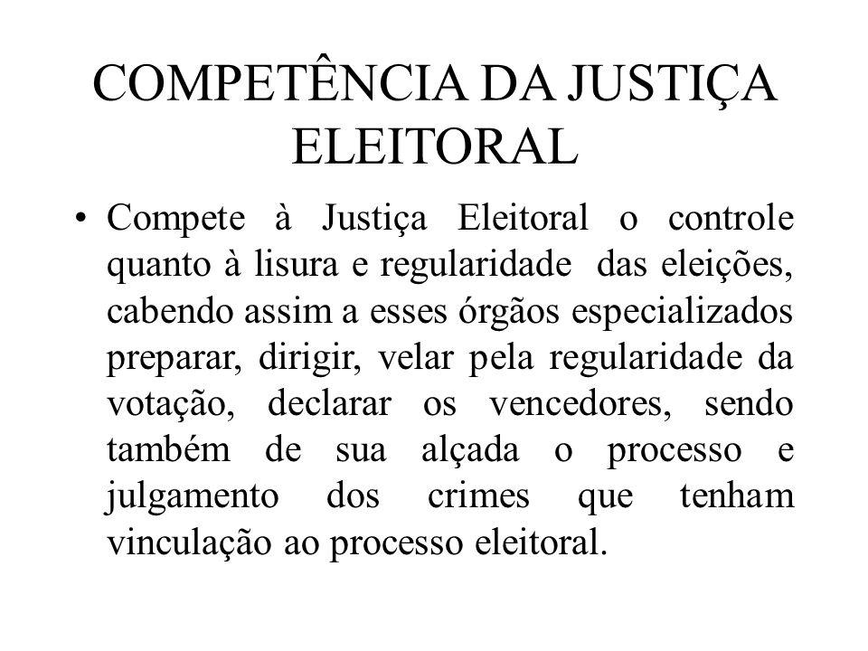 COMPETÊNCIA DA JUSTIÇA ELEITORAL