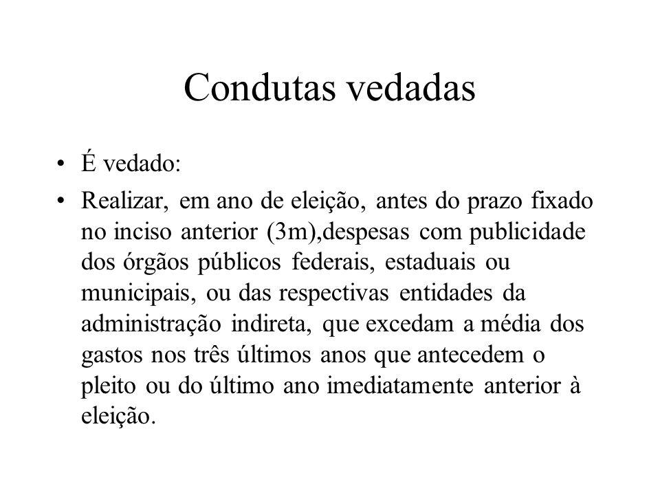 Condutas vedadas É vedado: