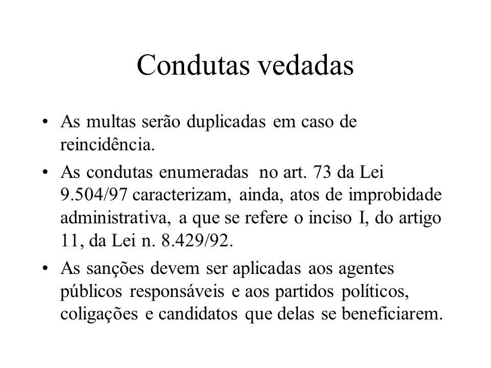 Condutas vedadas As multas serão duplicadas em caso de reincidência.