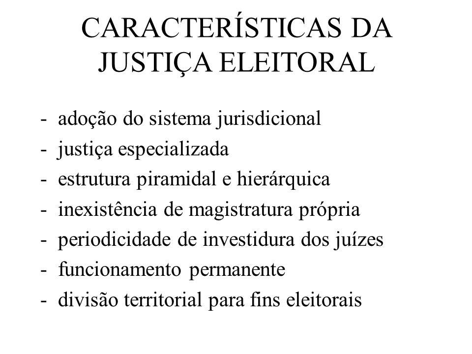 CARACTERÍSTICAS DA JUSTIÇA ELEITORAL
