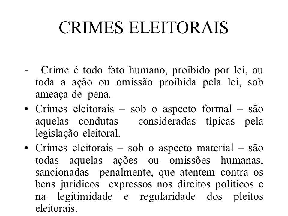 CRIMES ELEITORAIS - Crime é todo fato humano, proibido por lei, ou toda a ação ou omissão proibida pela lei, sob ameaça de pena.