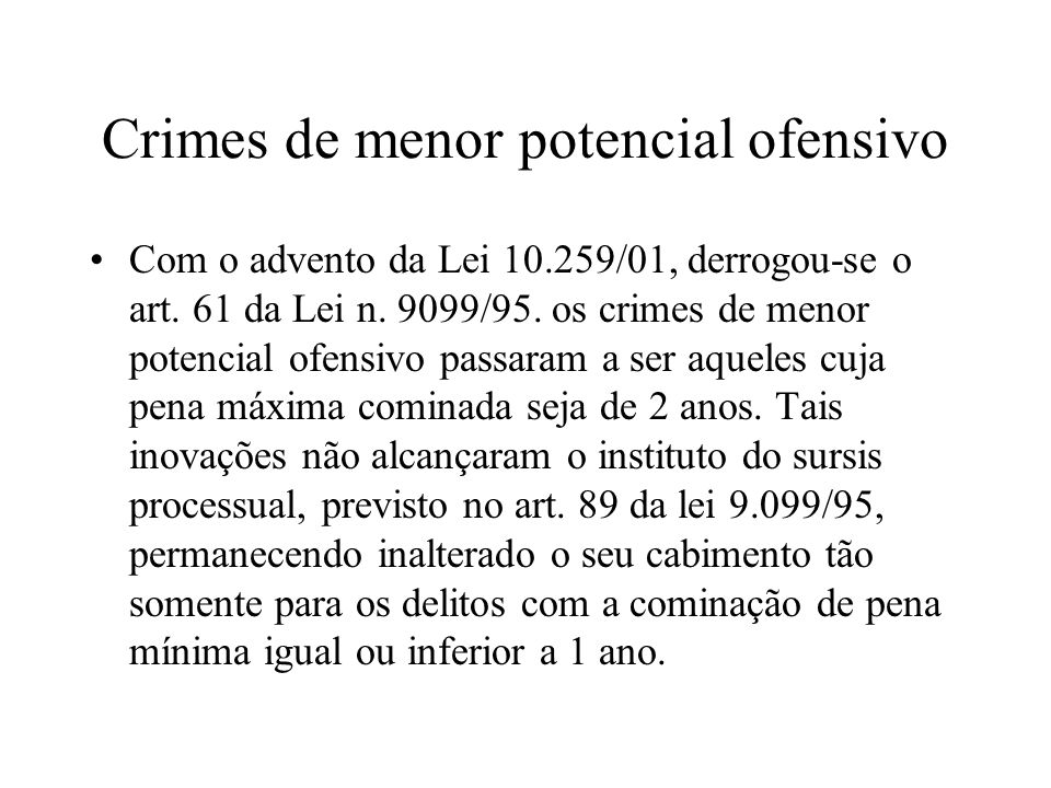 Crimes de menor potencial ofensivo