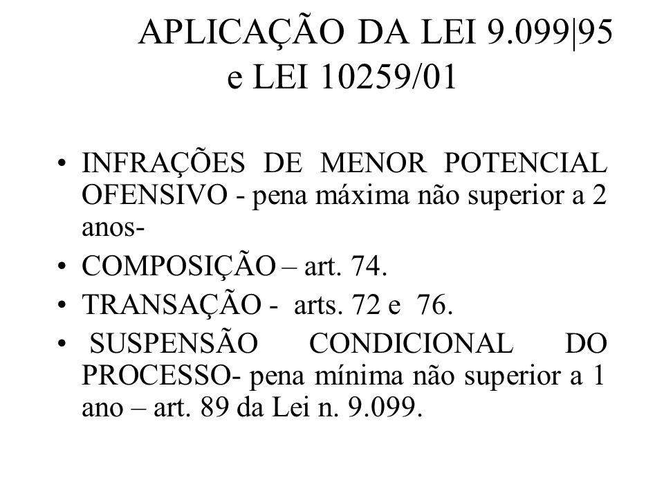 APLICAÇÃO DA LEI 9.099|95 e LEI 10259/01