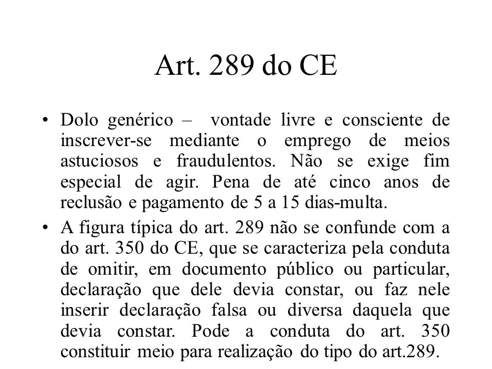 Art. 289 do CE