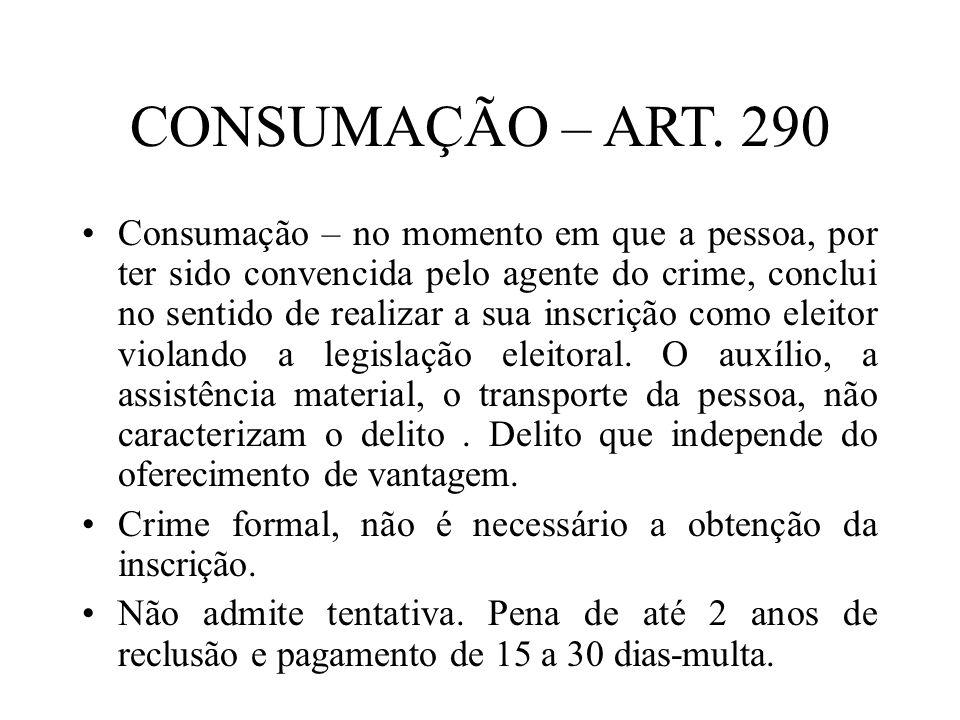 CONSUMAÇÃO – ART. 290
