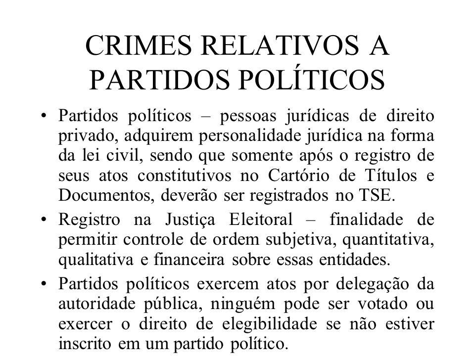 CRIMES RELATIVOS A PARTIDOS POLÍTICOS