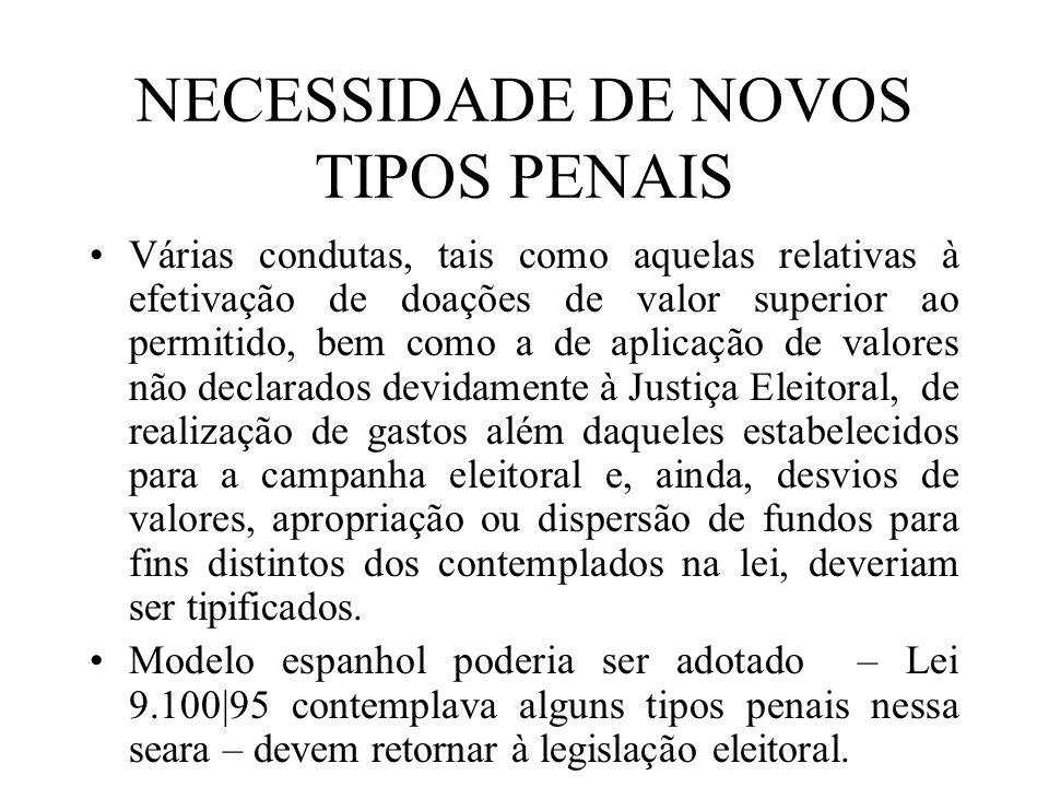 NECESSIDADE DE NOVOS TIPOS PENAIS