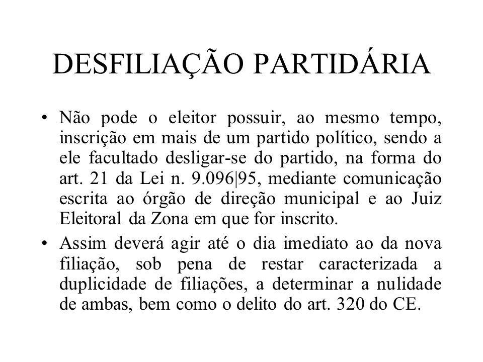 DESFILIAÇÃO PARTIDÁRIA