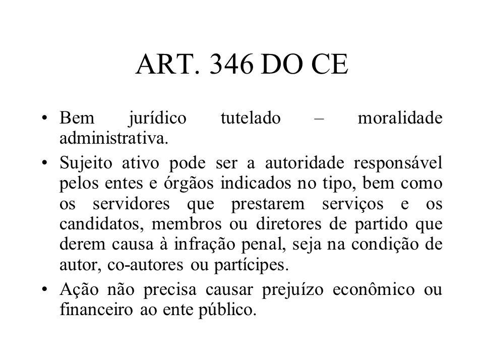 ART. 346 DO CE Bem jurídico tutelado – moralidade administrativa.
