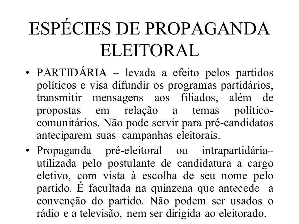 ESPÉCIES DE PROPAGANDA ELEITORAL