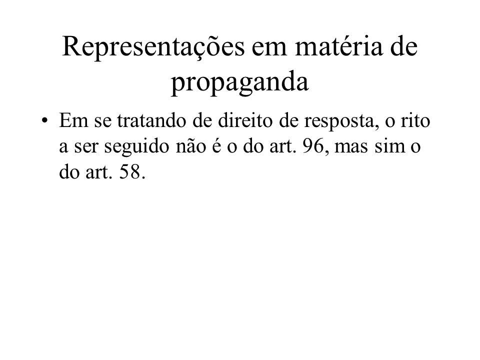 Representações em matéria de propaganda