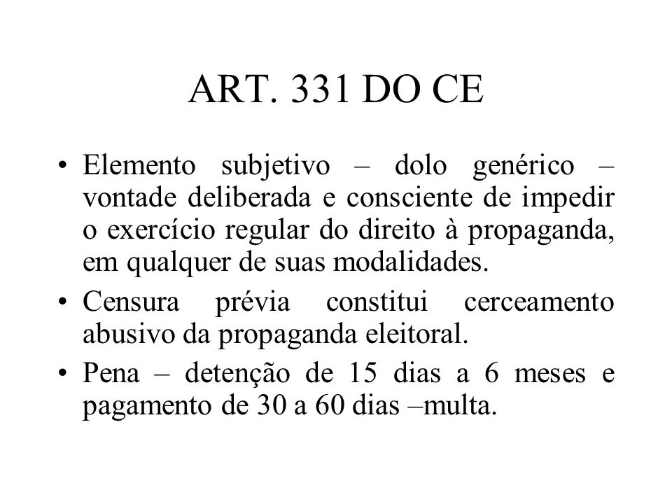 ART. 331 DO CE