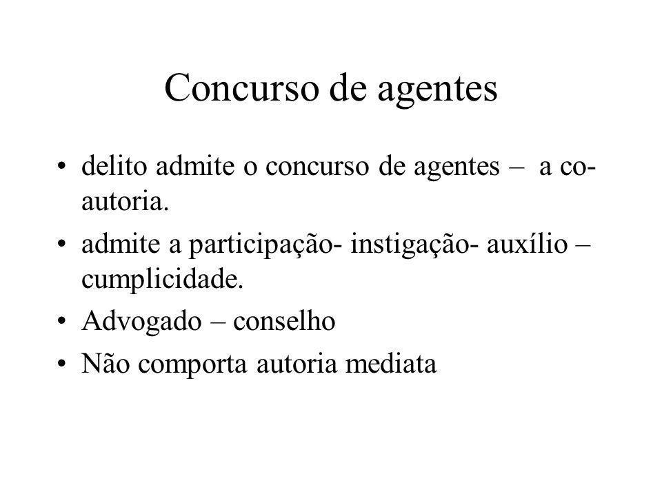 Concurso de agentes delito admite o concurso de agentes – a co-autoria. admite a participação- instigação- auxílio – cumplicidade.