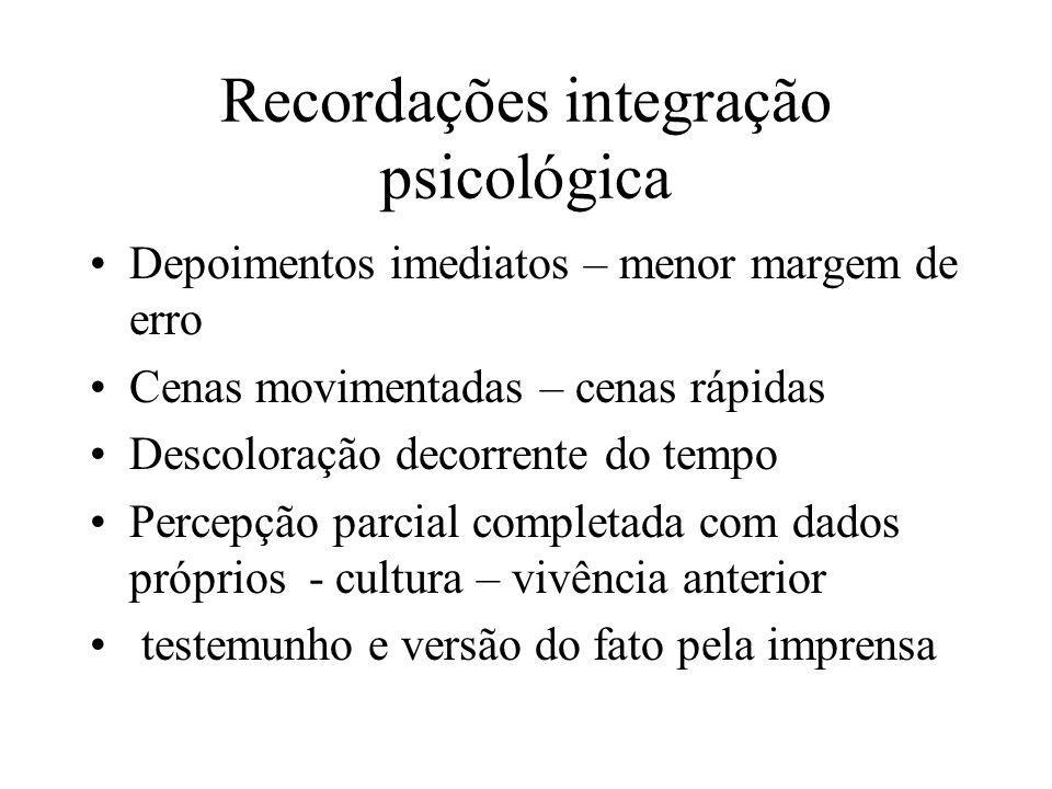 Recordações integração psicológica