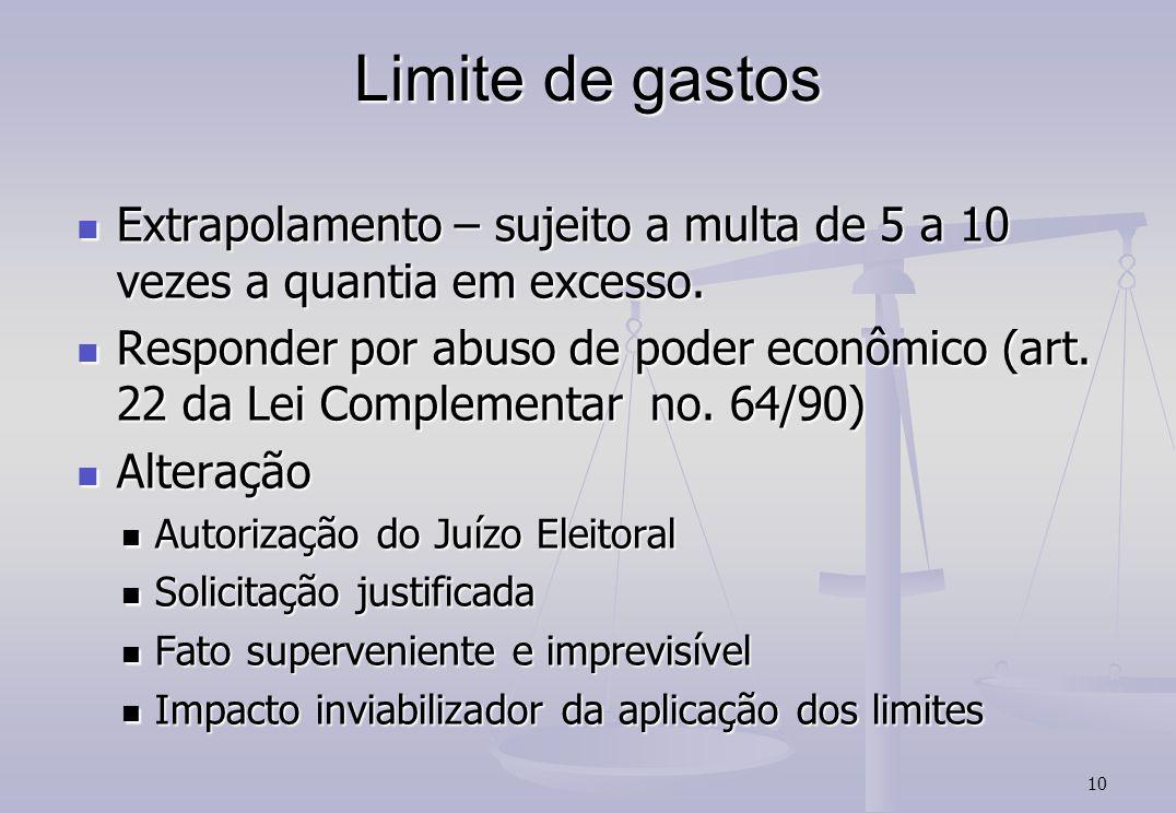 Limite de gastos Extrapolamento – sujeito a multa de 5 a 10 vezes a quantia em excesso.