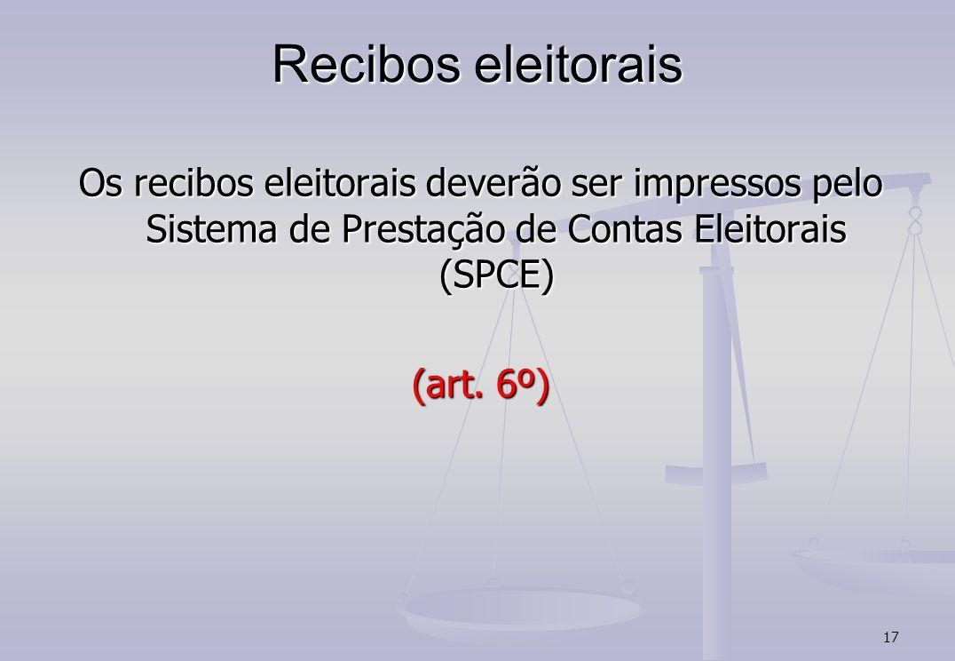 Recibos eleitorais Os recibos eleitorais deverão ser impressos pelo Sistema de Prestação de Contas Eleitorais (SPCE) (art.