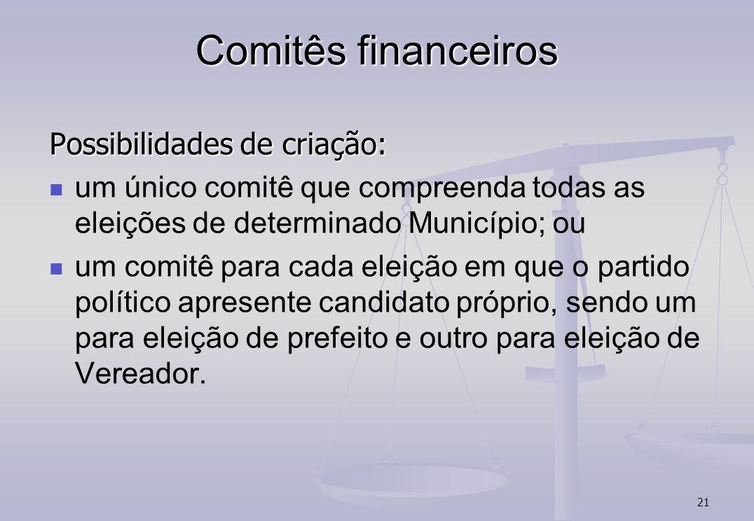 Comitês financeiros Possibilidades de criação: