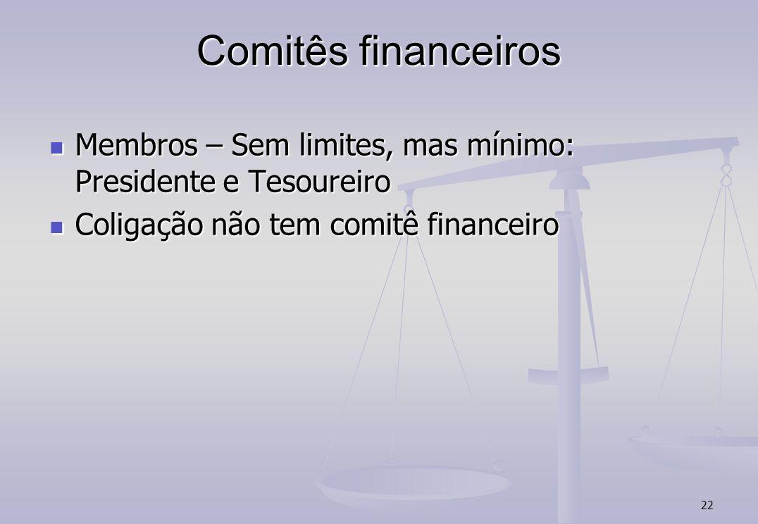 Comitês financeiros Membros – Sem limites, mas mínimo: Presidente e Tesoureiro. Coligação não tem comitê financeiro.