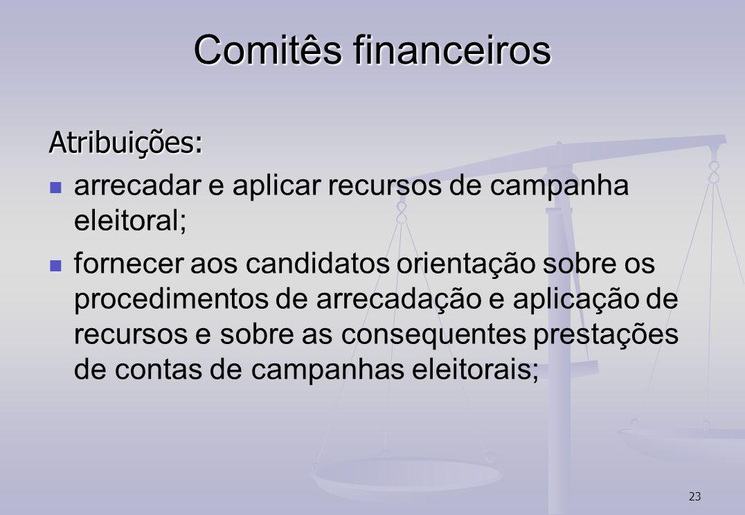 Comitês financeiros Atribuições: