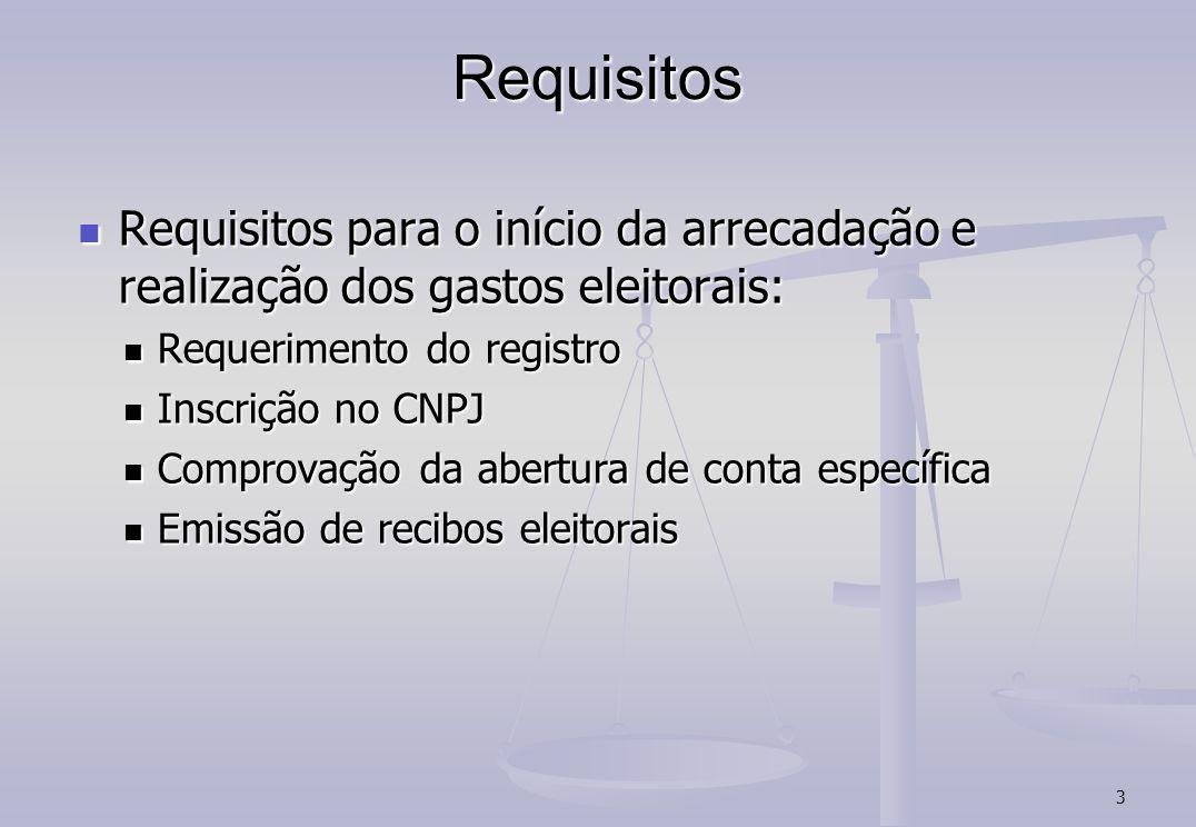 Requisitos Requisitos para o início da arrecadação e realização dos gastos eleitorais: Requerimento do registro.