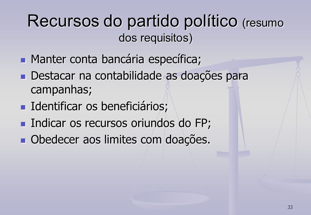 Recursos do partido político (resumo dos requisitos)