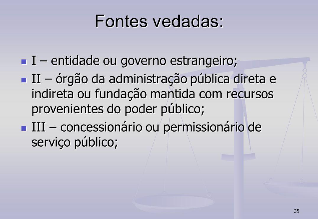 Fontes vedadas: I – entidade ou governo estrangeiro;