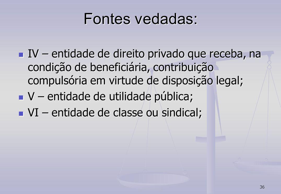 Fontes vedadas: IV – entidade de direito privado que receba, na condição de beneficiária, contribuição compulsória em virtude de disposição legal;
