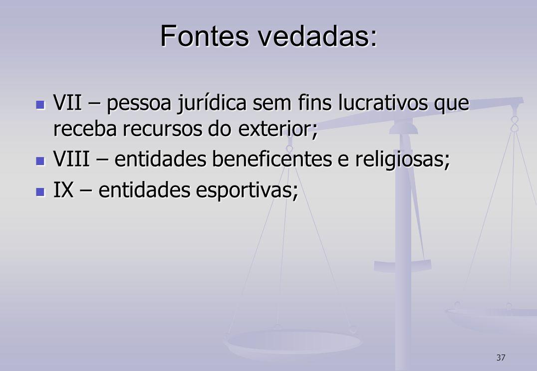 Fontes vedadas: VII – pessoa jurídica sem fins lucrativos que receba recursos do exterior; VIII – entidades beneficentes e religiosas;