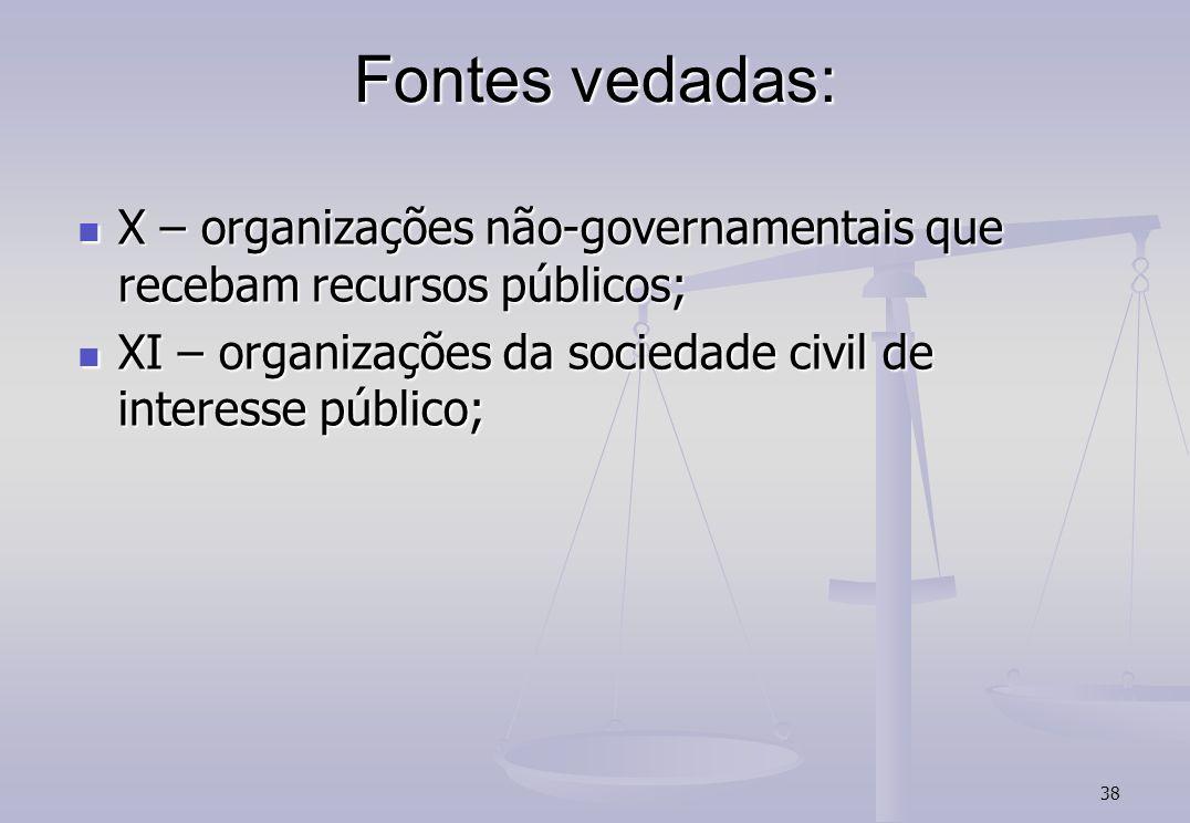 Fontes vedadas: X – organizações não-governamentais que recebam recursos públicos; XI – organizações da sociedade civil de interesse público;