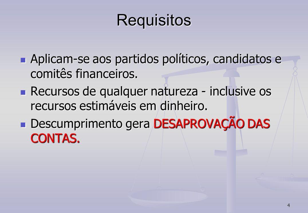 Requisitos Aplicam-se aos partidos políticos, candidatos e comitês financeiros.