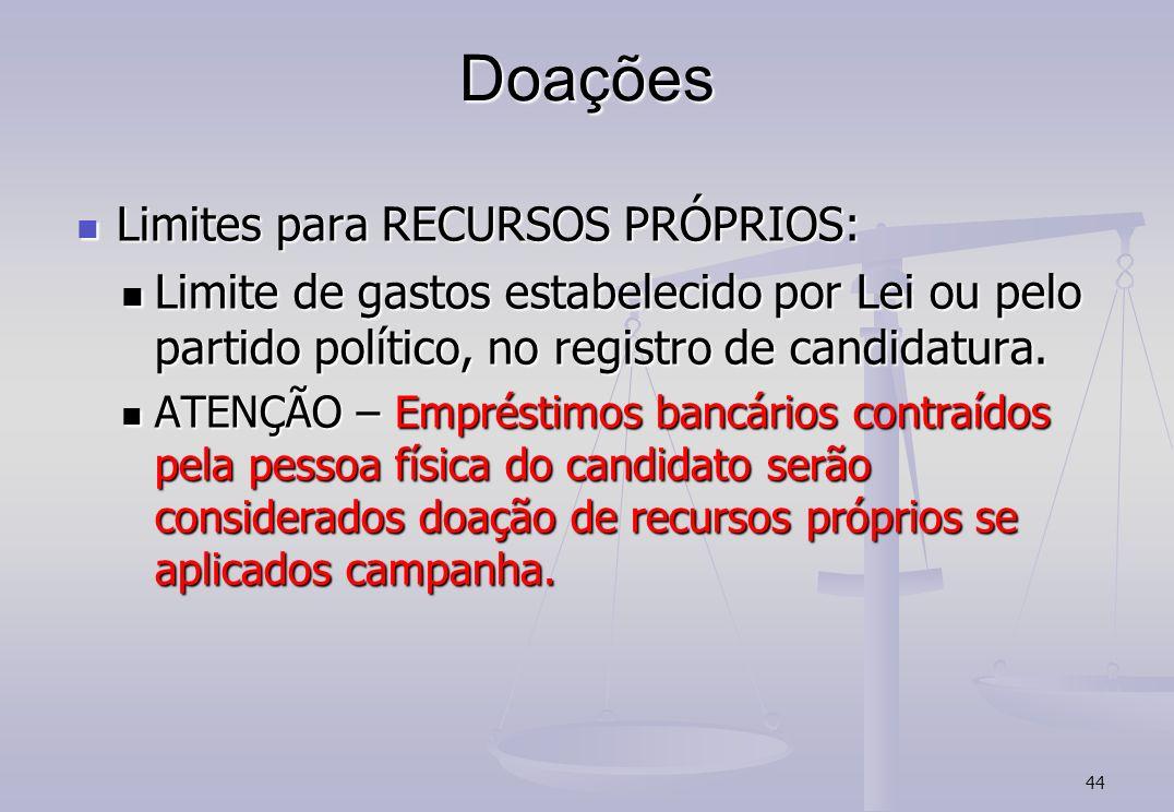 Doações Limites para RECURSOS PRÓPRIOS: