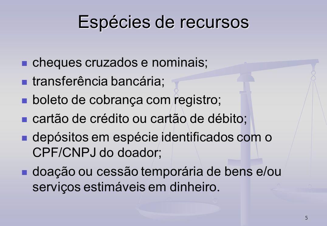 Espécies de recursos cheques cruzados e nominais;