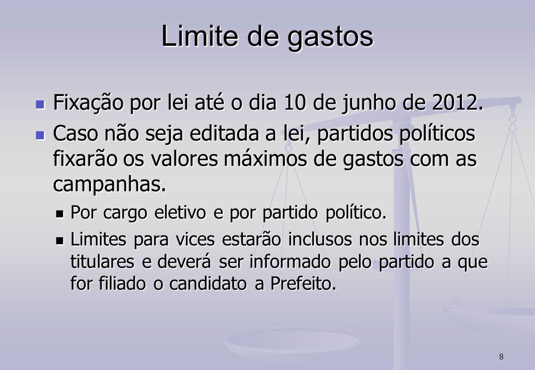 Limite de gastos Fixação por lei até o dia 10 de junho de 2012.