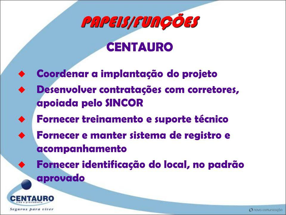 PAPEIS/FUNÇÕES CENTAURO Coordenar a implantação do projeto