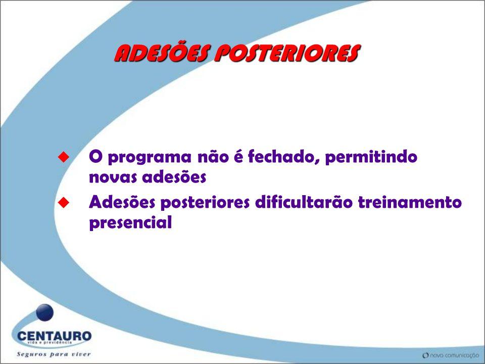 ADESÕES POSTERIORES O programa não é fechado, permitindo novas adesões