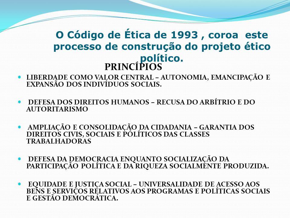 O Código de Ética de 1993 , coroa este processo de construção do projeto ético político.
