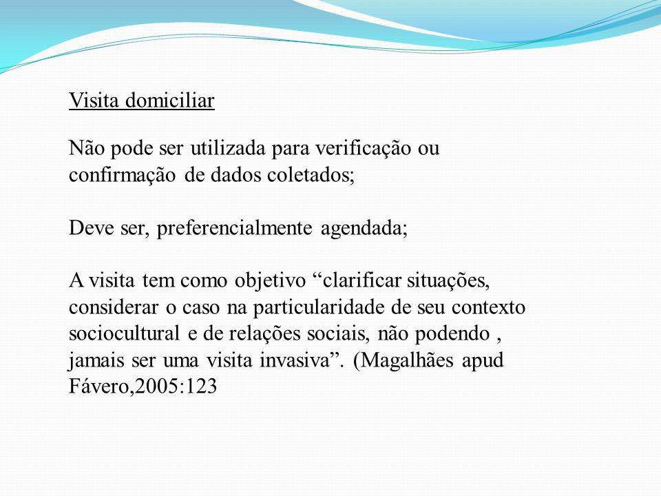 Visita domiciliar Não pode ser utilizada para verificação ou confirmação de dados coletados; Deve ser, preferencialmente agendada;