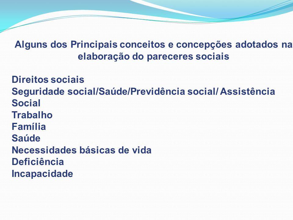 Alguns dos Principais conceitos e concepções adotados na elaboração do pareceres sociais