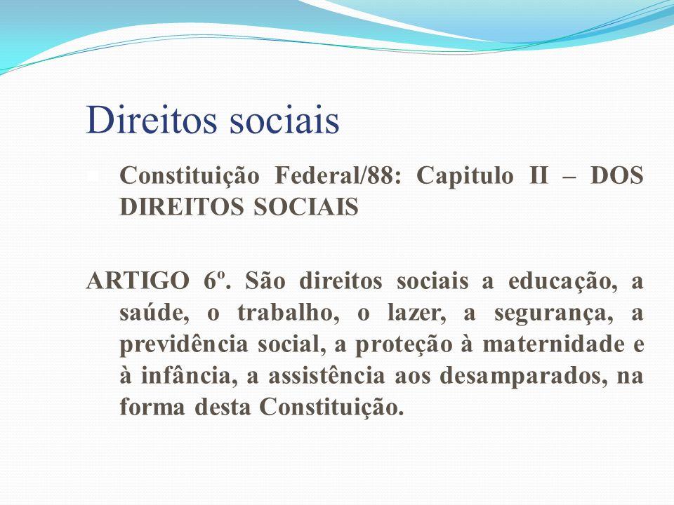 Direitos sociais Constituição Federal/88: Capitulo II – DOS DIREITOS SOCIAIS.