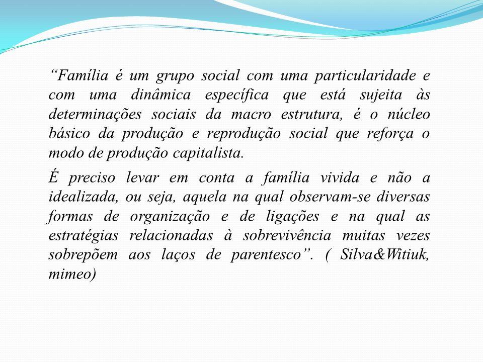 Família é um grupo social com uma particularidade e com uma dinâmica específica que está sujeita às determinações sociais da macro estrutura, é o núcleo básico da produção e reprodução social que reforça o modo de produção capitalista.
