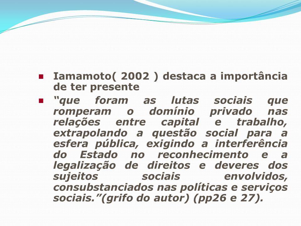 Iamamoto( 2002 ) destaca a importância de ter presente