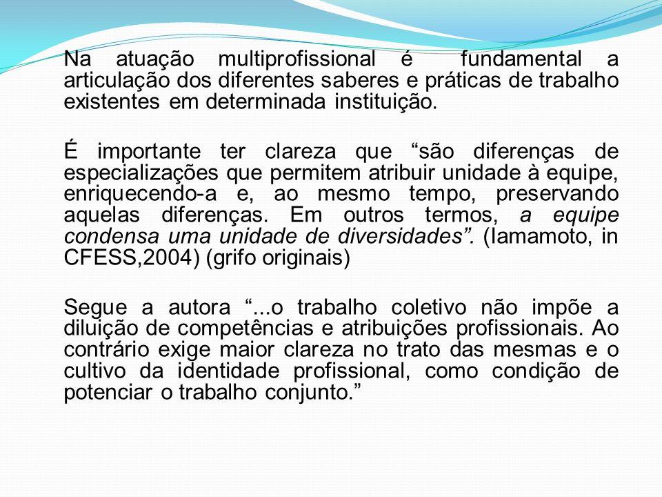 Na atuação multiprofissional é fundamental a articulação dos diferentes saberes e práticas de trabalho existentes em determinada instituição.