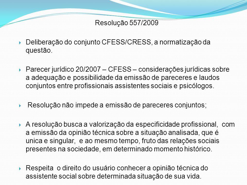 Resolução 557/2009 Deliberação do conjunto CFESS/CRESS, a normatização da questão.