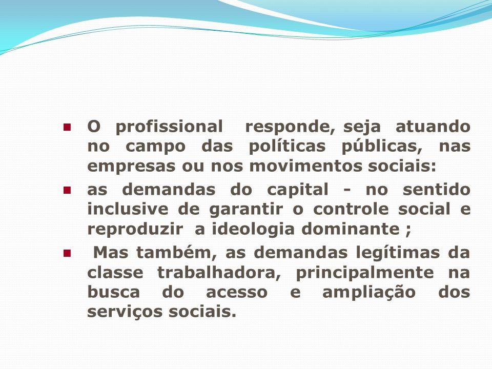 O profissional responde, seja atuando no campo das políticas públicas, nas empresas ou nos movimentos sociais: