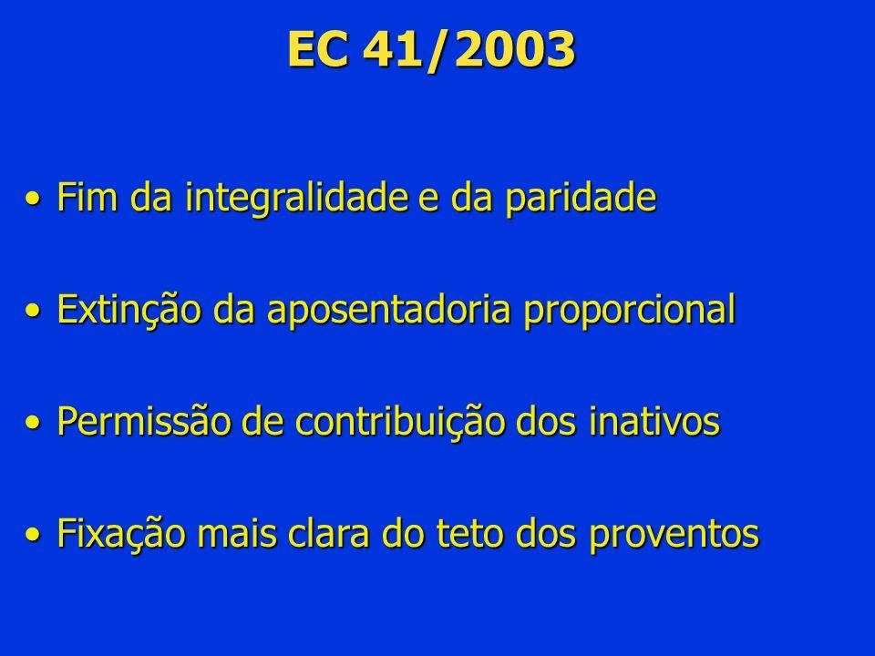 EC 41/2003 Fim da integralidade e da paridade