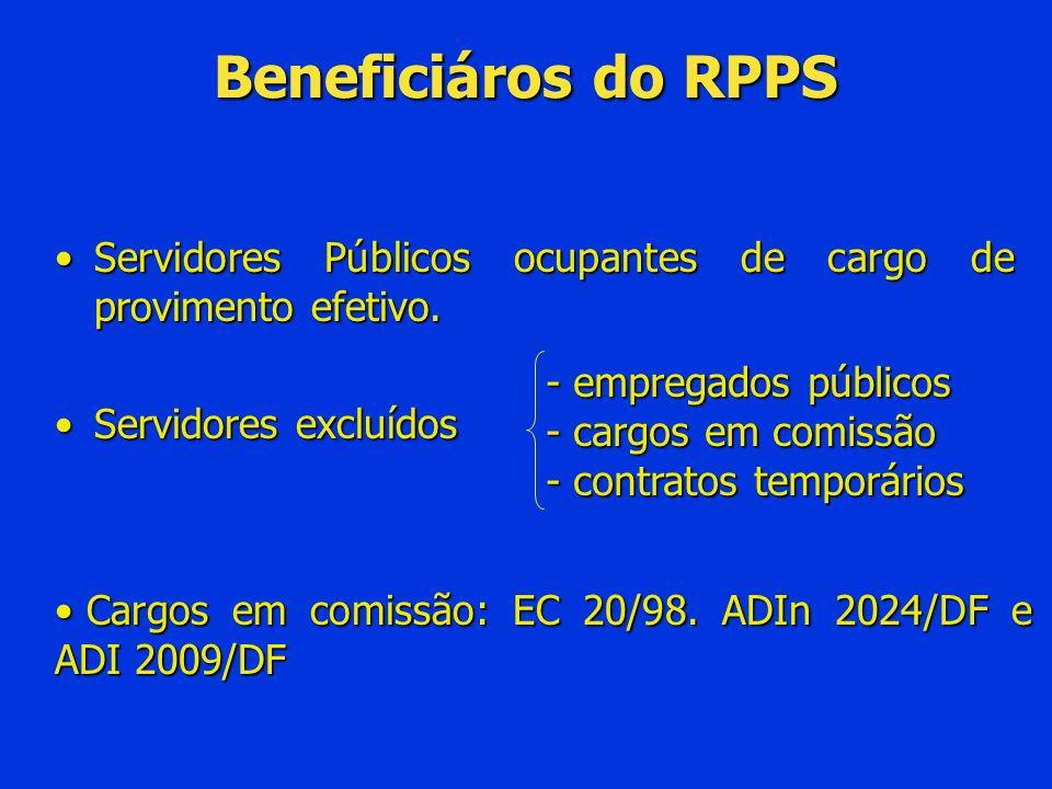 Beneficiáros do RPPSServidores Públicos ocupantes de cargo de provimento efetivo. Servidores excluídos.