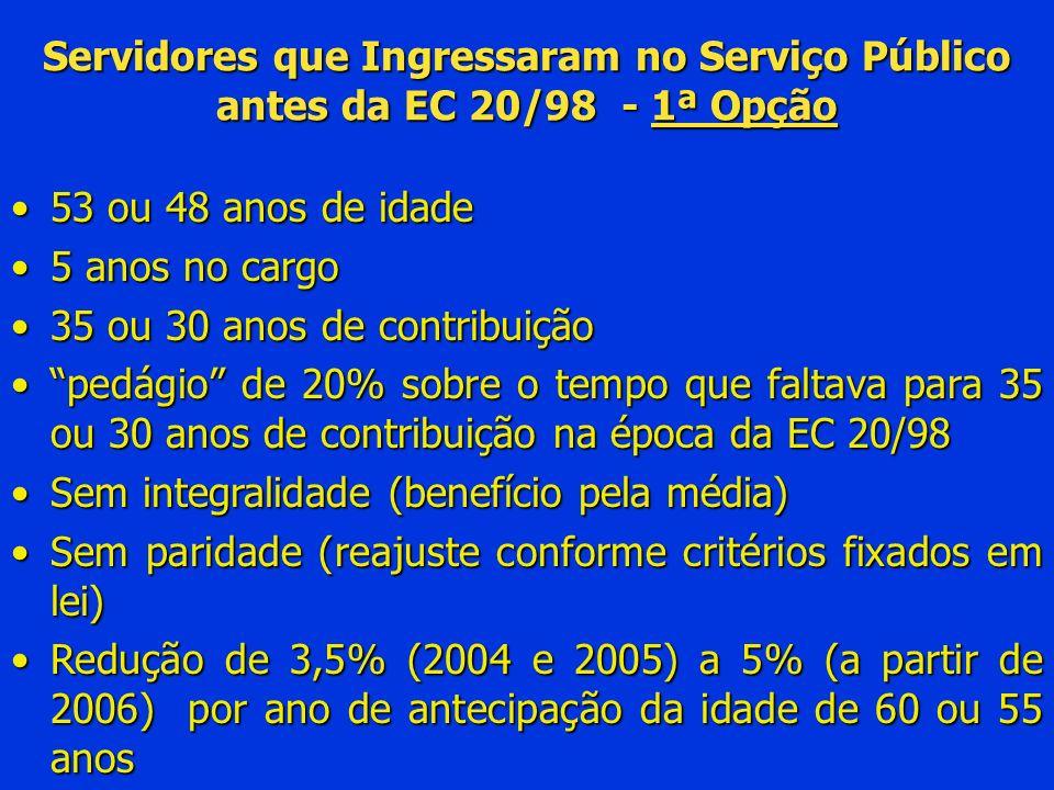 Servidores que Ingressaram no Serviço Público antes da EC 20/98 - 1ª Opção