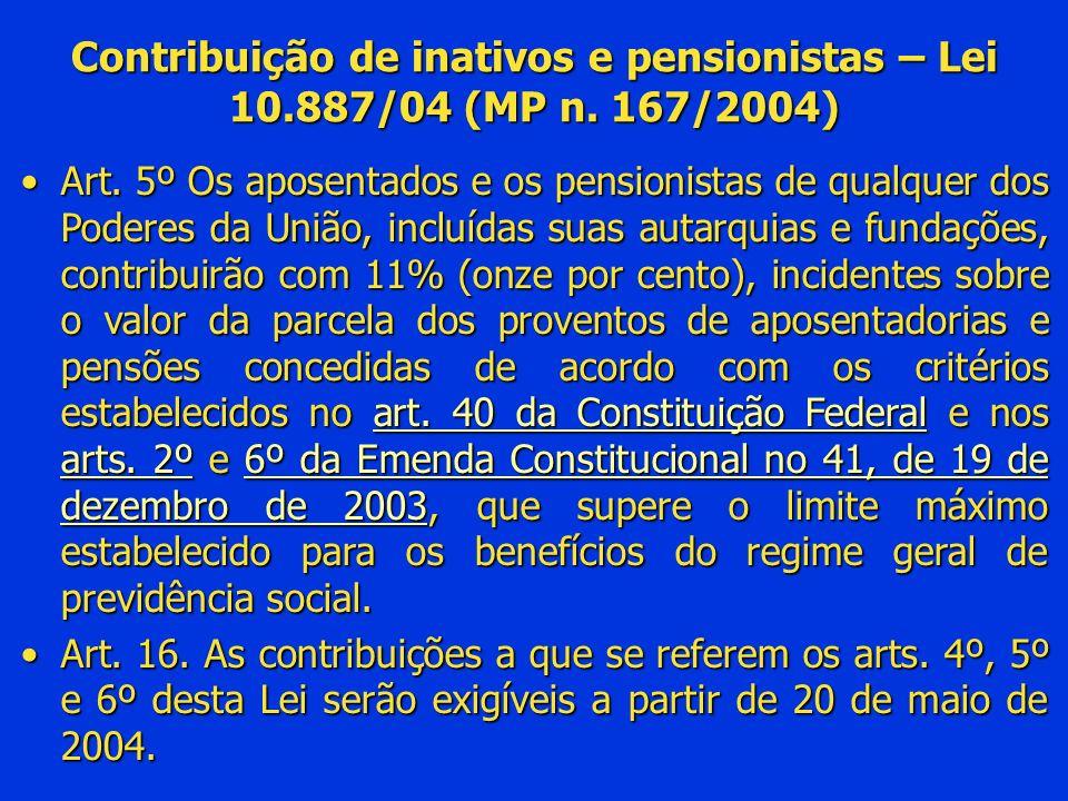 Contribuição de inativos e pensionistas – Lei 10. 887/04 (MP n